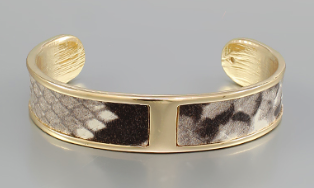 Animal Print Leather Cuff - Beige/Snake