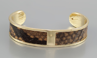 Animal Print Leather Cuff - Brown/Snake