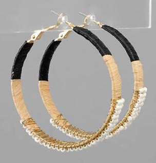 Beaded Raffia Wrapped Hoops
