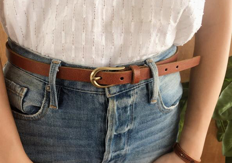 Basic Skinny Belt with Simple Equestrian Buckle