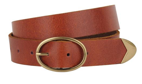 Oval Buckle Belt with End Tip