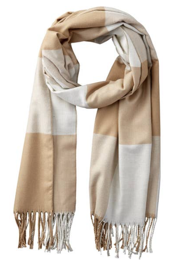 Beige & White Carter Wool Plaid Scarf