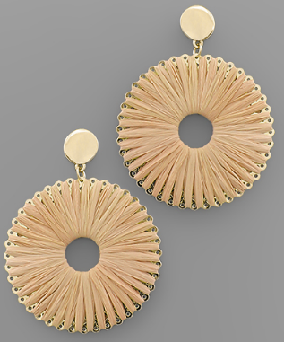 Raffia Wrapped Circle Earrings
