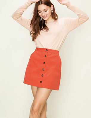 Dark Coral Button Down Skirt