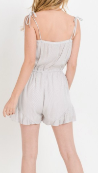 Pin Striped Romper w/ Ruffle Hem
