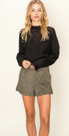 Suede Shorts w/ Scallop Detail - Olive