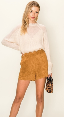 Suede Shorts w/ Scallop Detail - Camel