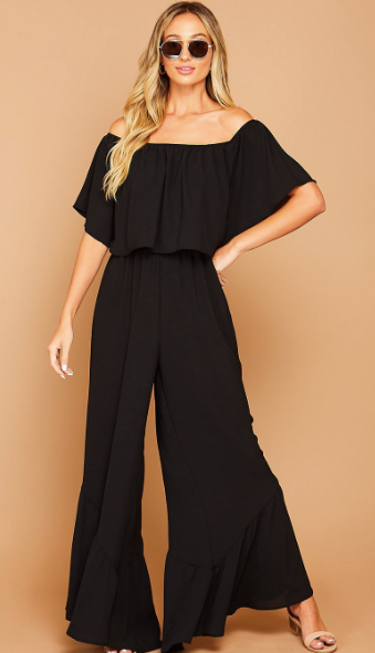 Solid Off The Shoulder Black Jumper