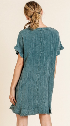 Garmet Dye Folded Sleeve Dress