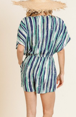 Navy/Green Stripe Print Short Sleeve Romper