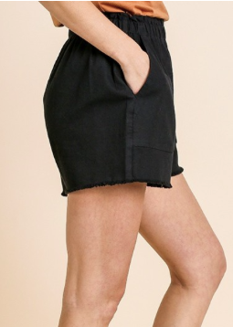 High Waist Black Shorts with Frayed Hem