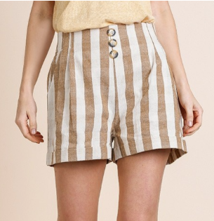 Stripe High Waist Short with Faux Button Detail