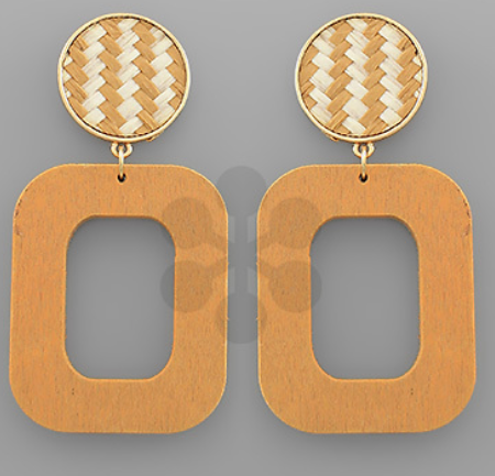 Woven Circle & Wood Rectangle Earrings