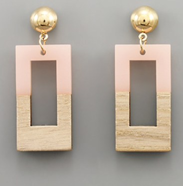 Wood + Resin Rectangle Earrings