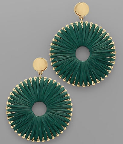 Raffia Wrap Circle Earrings