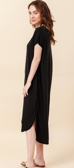 Drop Shoulder Curved Hem Dress - Black