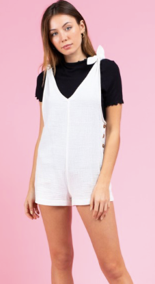 Tie-Shoulder Side Button Down Romper - White