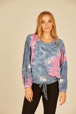 Galaxy Tie Dye Burnout Jersey Drawstring Top