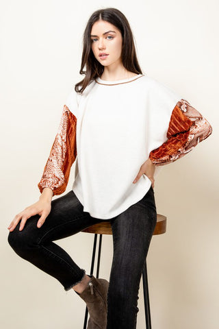 Velvet Snake Sleeve Top