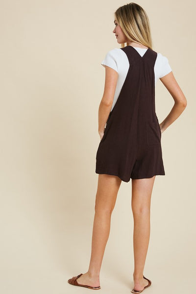 Bib Pocket Front Overall Shorts