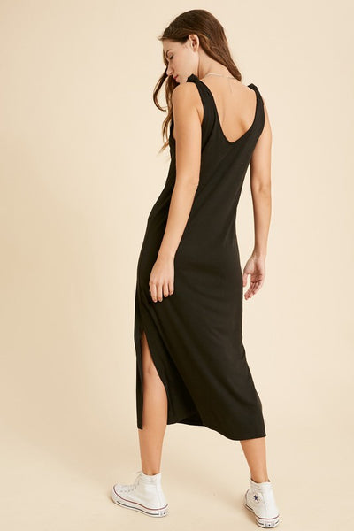 Modal Ribbed Sleeveless Knit Dress - Black