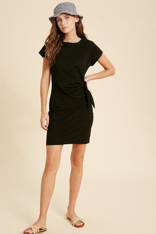 Cotton Self Tie Mini Dress