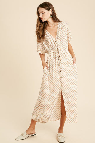 Printed Button Down Tie Waist Maxi