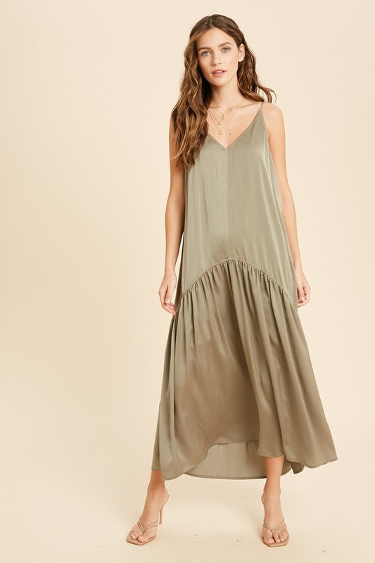 Satin Shirring Maxi Dress