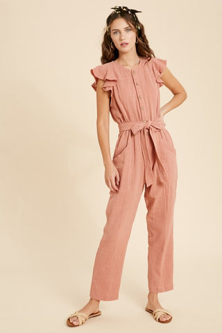 Button Down Ruffle Jumpsuit