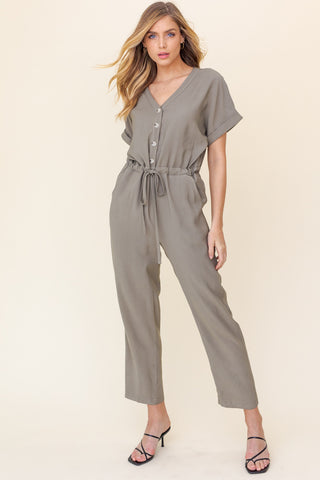 Button Down Short Sleeve V-Neck Jumpsuit