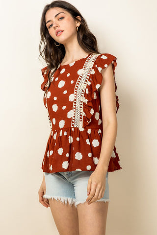 Spotted Flutter Top