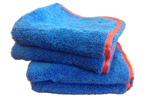 Blue Microfiber Towel with Red Trim - Large