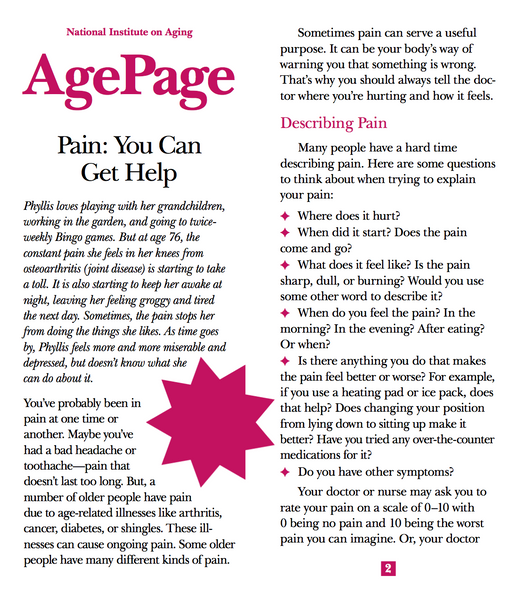 Pain: You Can Get Help (Age Page Series)