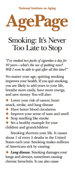 Smoking: It's Never too Late to Stop (Age Page Series)
