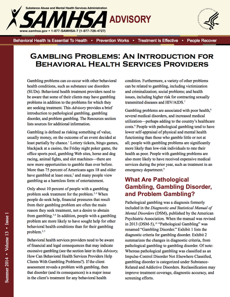Gambling Problems: An Introduction for Behavioral Health Providers