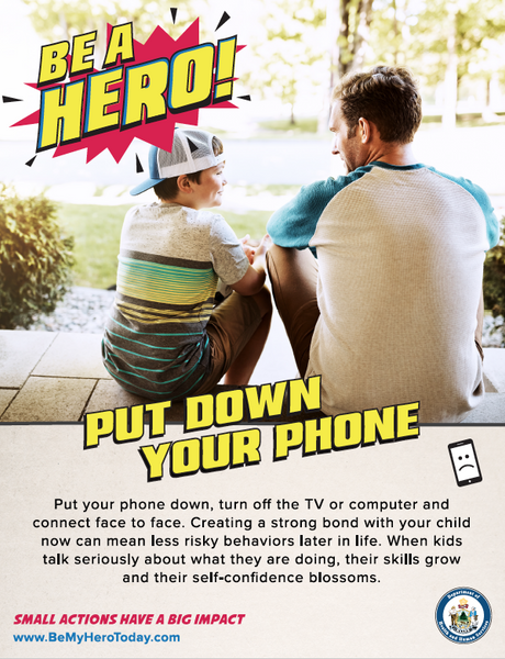Be A Hero Poster: Put Down Your Phone - Digital Only