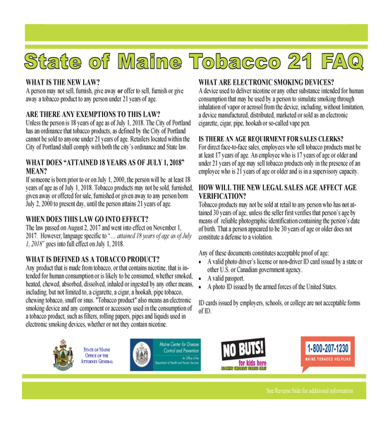 State of Maine Tobacco 21 FAQ