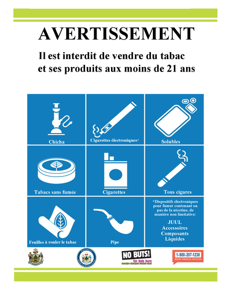 Tobacco Retailer Sign French Version - (Version Francaise) - Digital Download Only