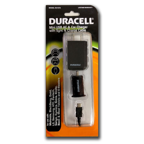 Duracell 3-in-1 Home & Car Charger w/ Micro USB Sync & Charge Cable (DU1572)