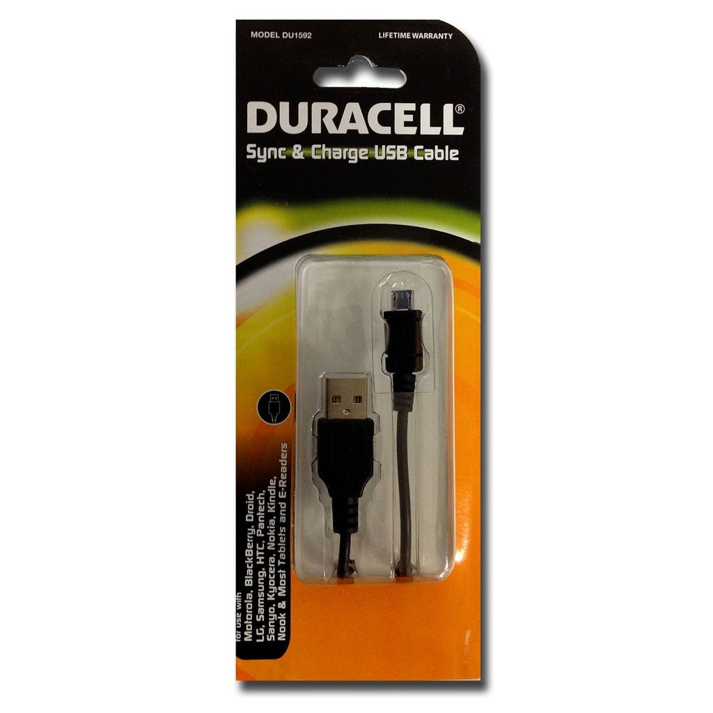 Duracell Sync & Charge Micro USB Cable (Black) (DU3104)
