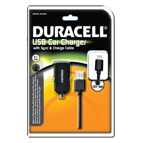 Duracell iPhone USB Car Charger w/ sync & charge cable (MFI Certified) (DU5264)