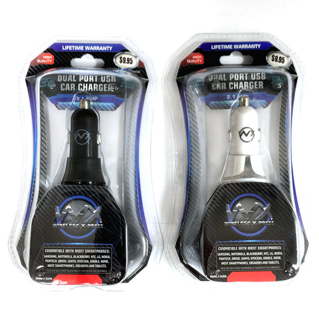 2.1 Amp Dual Port USB Car (DC) Charger with Blue LED