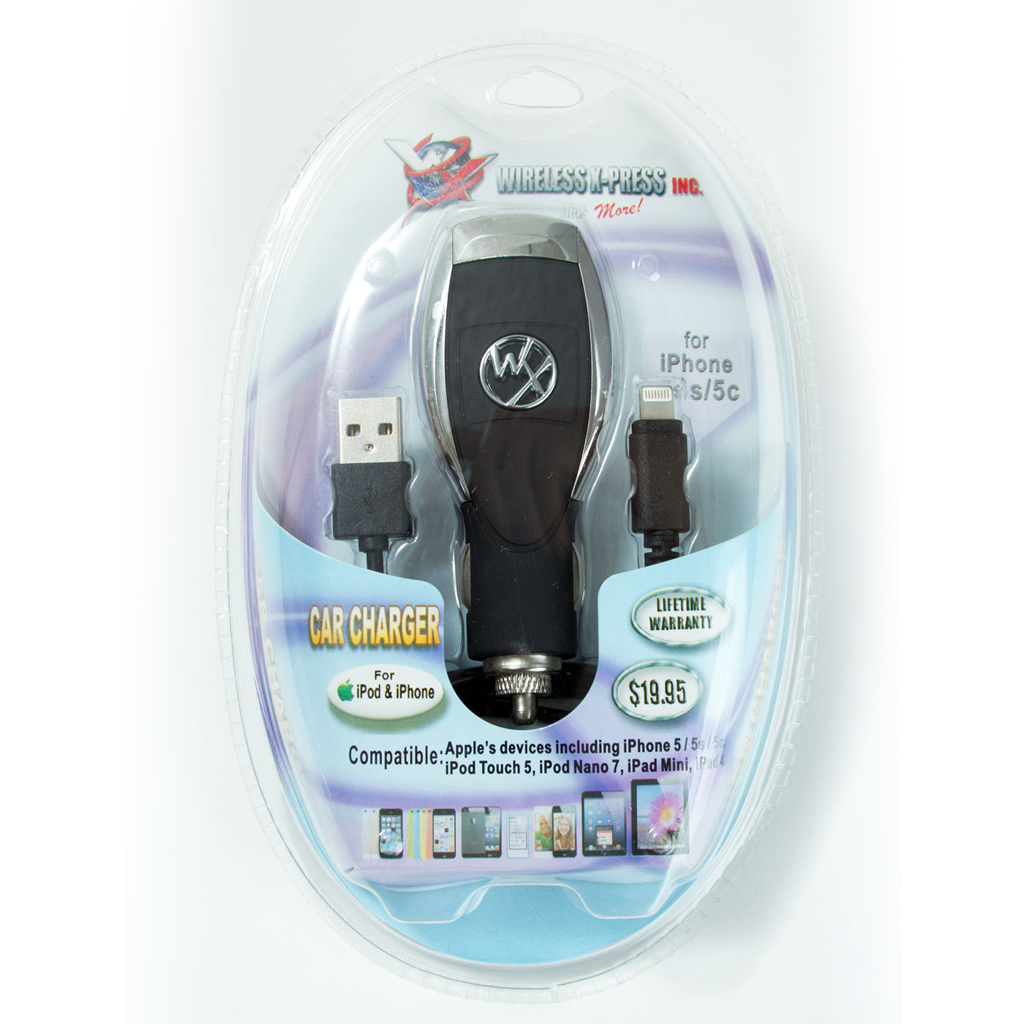 USB Car Charger w Charge/Sync Cable