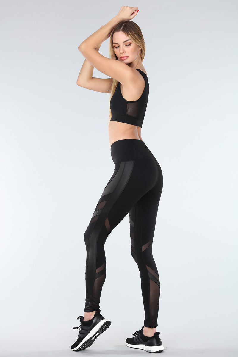 OXYGEN DIAGONAL-MESH LEGGINGS | BLACK