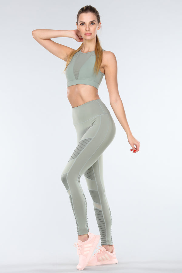 TORREY V-MESH TOP | FROST GREEN
