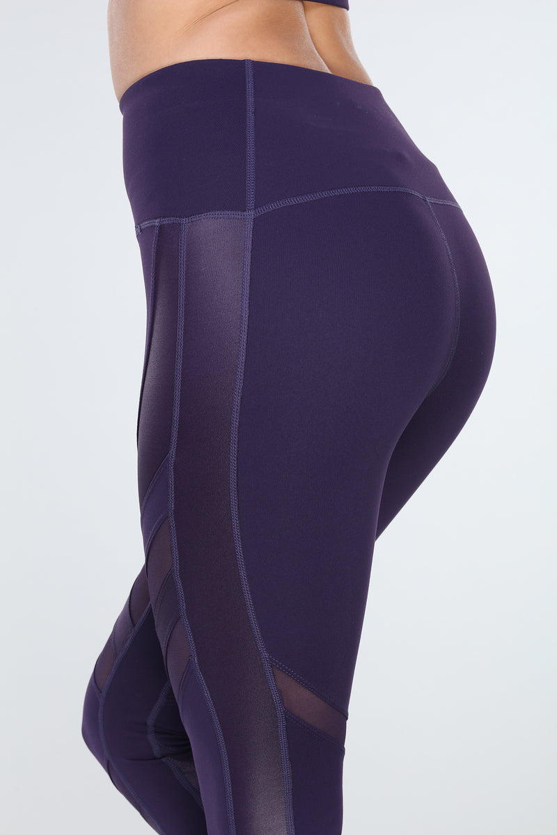 OXYGEN DIAGONAL-MESH LEGGINGS | PURPLE