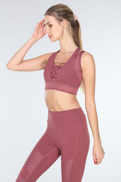 LUX CROSS-OVER SPORTS BRA | MAUVE