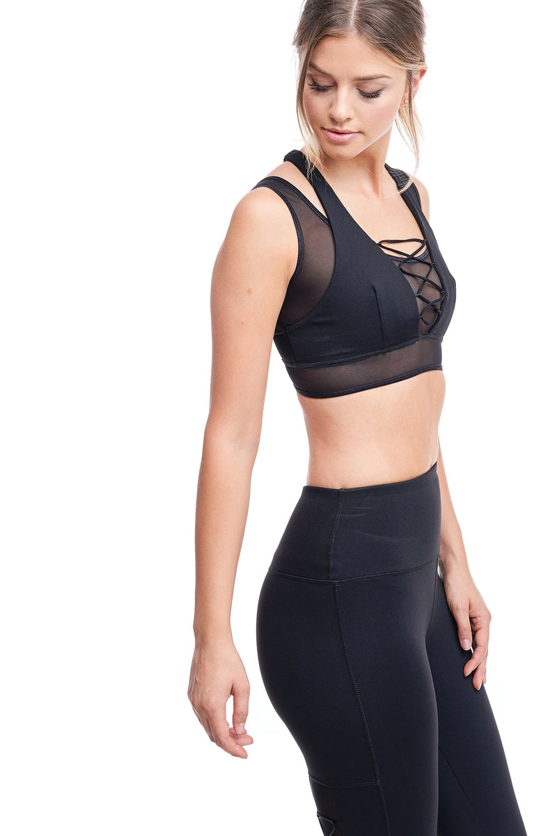 LUX CROSS-OVER SPORTS BRA | BLACK - LA Society