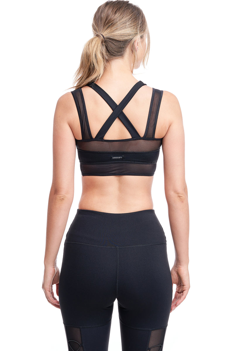 LUX CROSS-OVER SPORTS BRA | BLACK