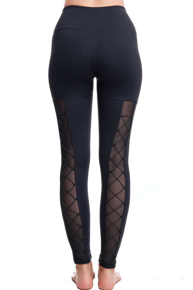 HIGH-WAISTED BACK-LACE LEGGINGS | BLACK - LA Society